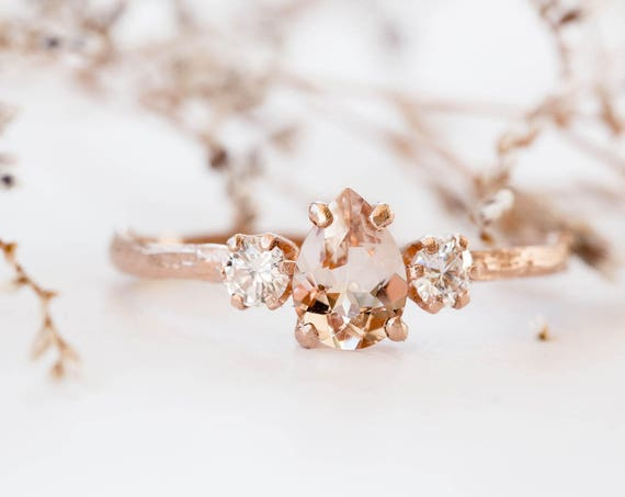Pear morganite and moissanite and 14k gold twig engagement ring, pear morganite engagement ring, three stone rose gold engagement ring