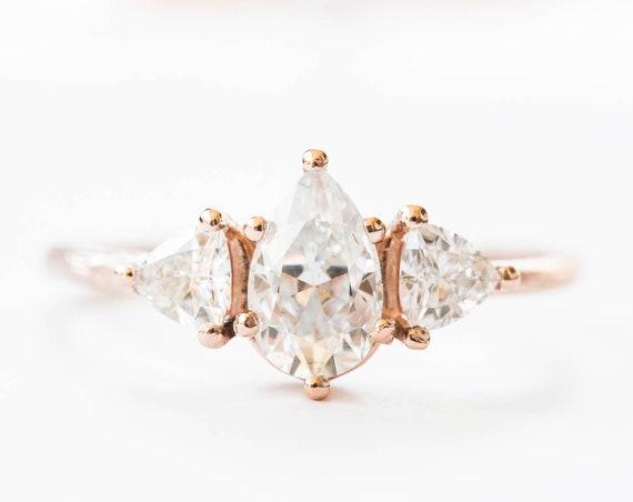 Moissanite three stone twig ring, trillion pear ring, alternative engagement ring, nature engagement ring, diamond alternative ring, gold