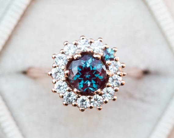 Alexandrite cluster halo engagement ring, unique engagement ring, alexandrite halo ring, vintage inspired ring, 14k halo cluster ring
