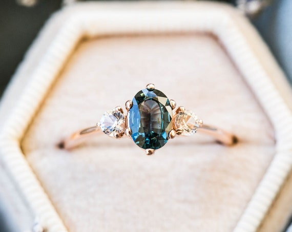 Blue green oval sapphire engagement ring, 14k sapphire engagement ring, unique engagement ring, teal engagement ring, teal gemstone ring