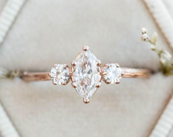 Marquise moissanite twig engagement ring, three stone engagement ring, moissanite ring, 14k gold ring, marquise twig ring, twig engagement