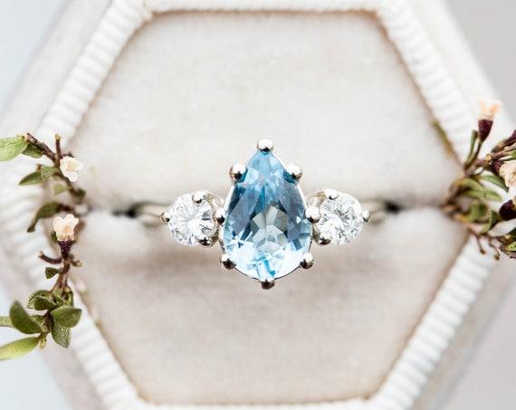 Aquamarine pear three stone engagement ring, pear engagement ring, three stone ring, rose gold diamond alternative ring, princess ring, oore
