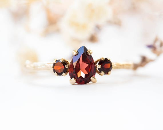 Pear garnet 14k gold twig engagement ring, garnet engagement ring, three stone vintage rustic engagement ring, garnet gold twig ring