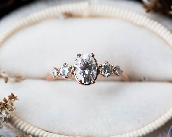 Oval moissanite cluster engagement ring, oval round stone cluster ring, moissanite engagement ring, unique engagement ring, 14k gold ring