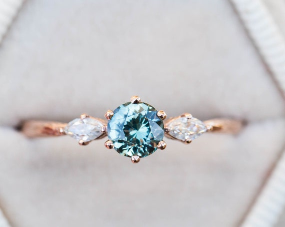 Teal sapphire marquise twig engagement ring, blue green sapphire engagement ring, 14k gold ring, twig ring, alternative engagement ring