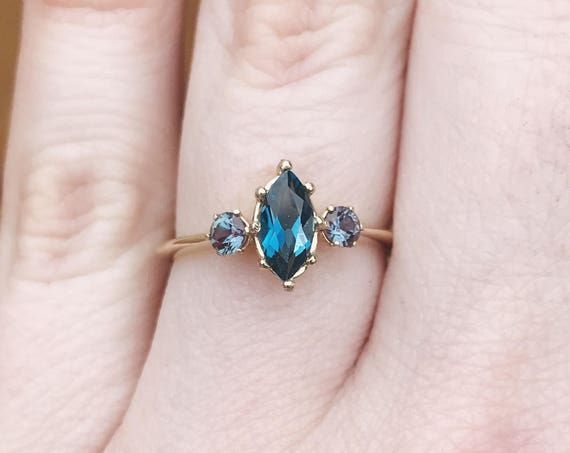 Marquise London blue topaz 14k three stone engagement ring, gold engagement ring, unique alexandrite topaz three stone ring, marquise ring