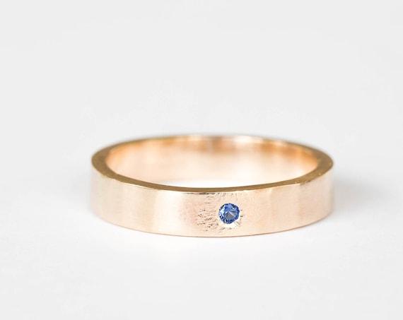 14k yellow sapphire mens wedding band, women's wedding band, sapphire 14k gold wedding ring