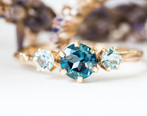 Three stone london blue topaz and aquamarine engagement ring, aquamarine gold engagement ring, twig engagement ring