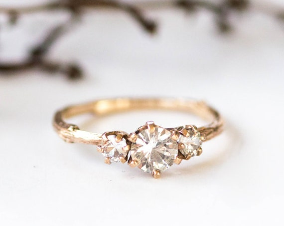 Three stone white sapphire 14k gold twig engagement ring, three stone engagement ring, gold twig ring