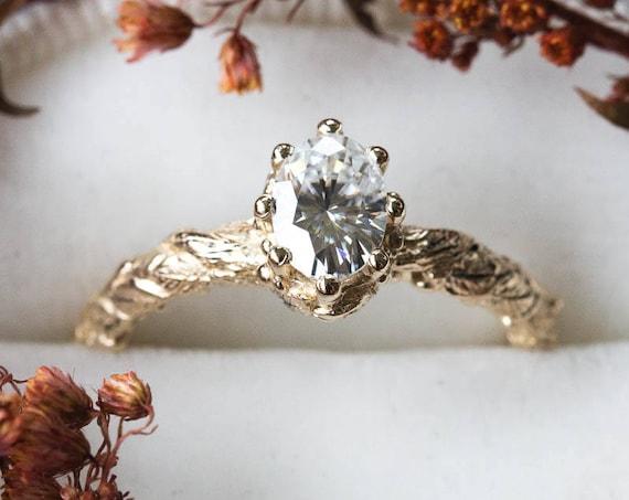 Oval moissanite gold leaf engagement ring, vintage style engagement ring, oval moissanite ring, leaf engagement ring, nature engagement ring