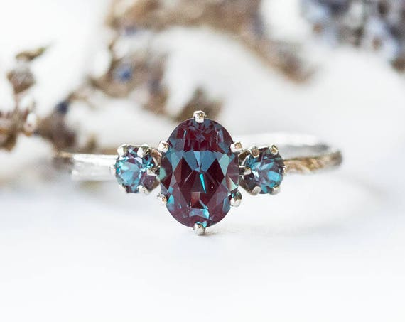 Oval Chatham alexandrite 14k gold twig engagement ring, alexandrite engagement ring, three stone rose gold engagement, alexandrite oval ring