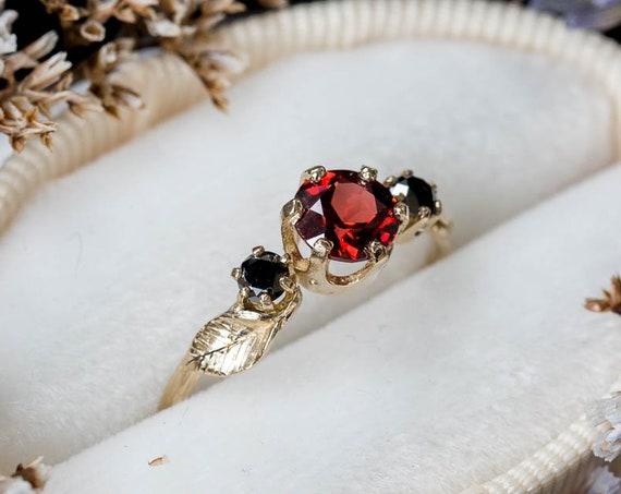 Three stone garnet black diamond leaf twig ring, 14k gold twig engagement ring, three stone engagement ring, leaf twig engagement ring, oore