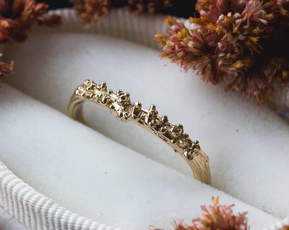 14k gold barnacle twig wedding band, 14k gold matching twig nature band, barnacle wedding band, ocean wedding band, nature wedding band gold