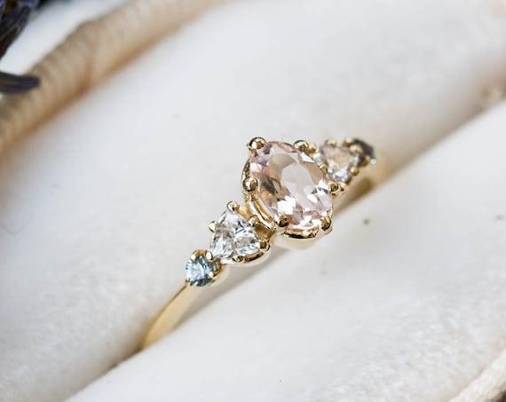 Morganite oval 14k gold cluster five stone engagement ring, 14k gold vintage style ring, cluster engagement ring, alternative engagement