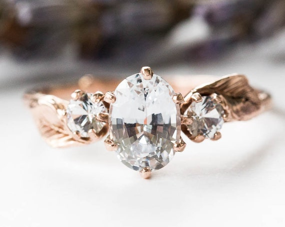Oval white sapphire three stone leaf engagement ring , 14k gold twig engagement ring, gold leaf twig ring, leaf engagement ring, sapphire