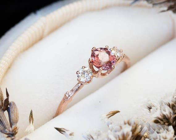 Malaya garnet three stone 14k gold twig engagement ring, three stone mauve moissanite engagement ring, garnet moissanite gold twig ring