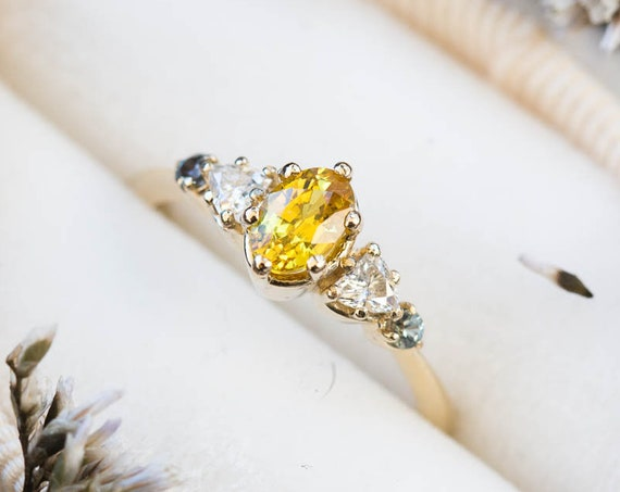 Yellow sapphire oval 14k gold cluster five stone engagement ring, 14k gold vintage style moissanite ring, cluster moissanite sapphire ring