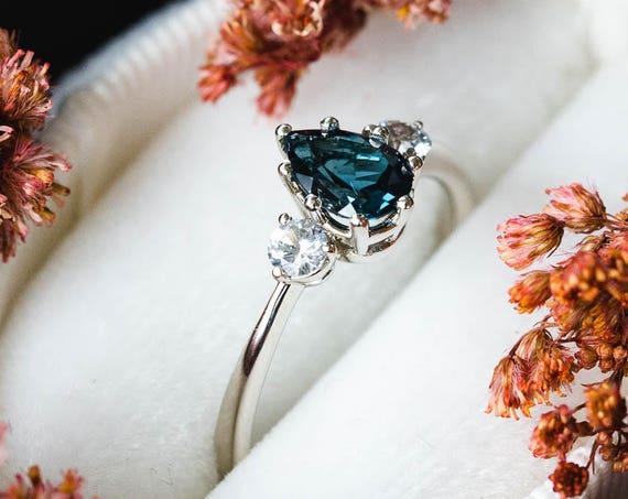 Three stone london blue topaz sapphire engagement ring, pear engagement ring, pear sapphire three stone ring, 14k gold sapphire engagement