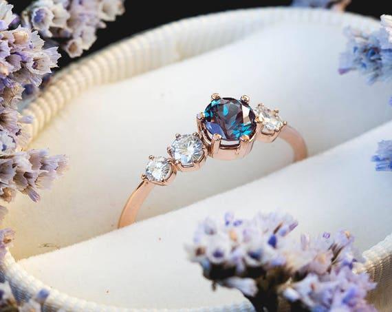 Cluster alexandrite 14k gold engagement ring, moissanite engagement ring, unique engagement, alexandrite engagement ring, alexandrite ring