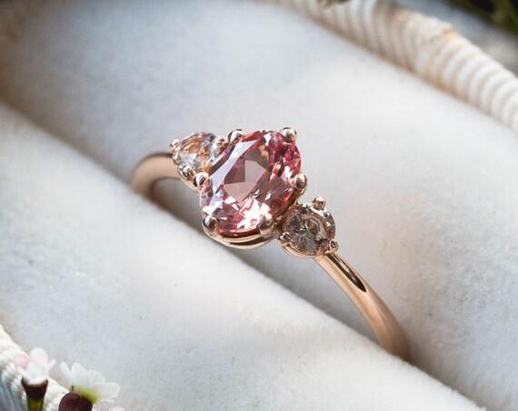 Champagne peach sapphire three stone 14k gold engagement ring, sapphire engagement ring, alternative bridal, peach rose gold ring, sapphire