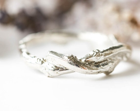 Mens twig wrapped wedding band, sterling silver mens band, wedding band, nature wedding band, sterling silver twig band, mens silver ring