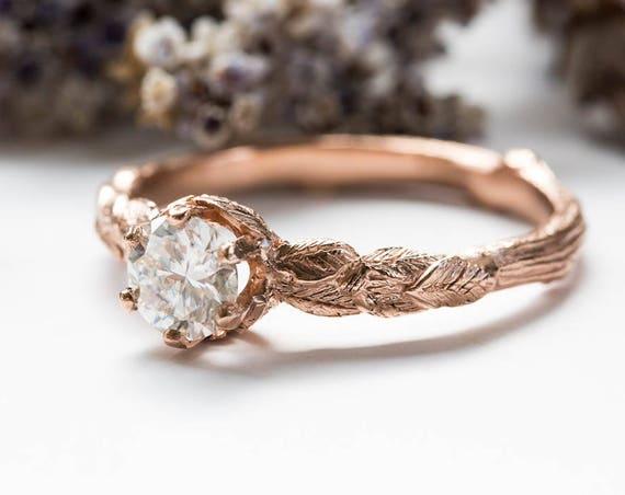 Moissanite 14k gold leaf engagement ring, rustic nature engagement ring, moissanite twig engagement ring, alternative engagement ring
