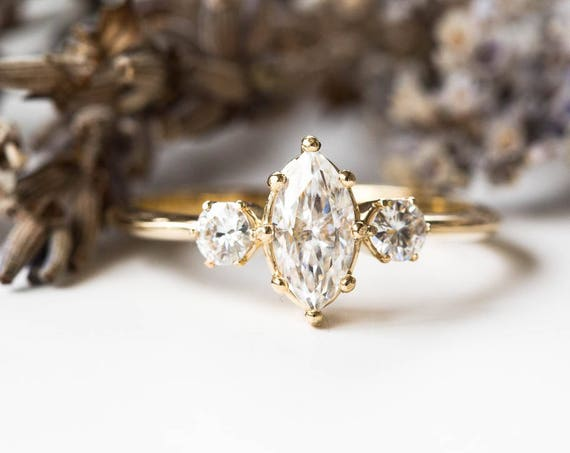 Marquise moissanite engagement ring, 14k gold engagement ring, three stone engagement ring, alternative engagement ring, marquise ring
