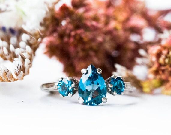 London blue topaz 14k gold twig engagement ring, london blue engagement ring, three stone rustic engagement ring, topaz gold twig ring