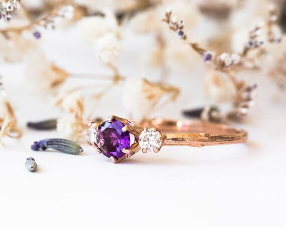 Amethyst and moissanite gold twig engagement ring, twig nature moissanite ring, three stone ring, 14k rose gold engagement twig ring
