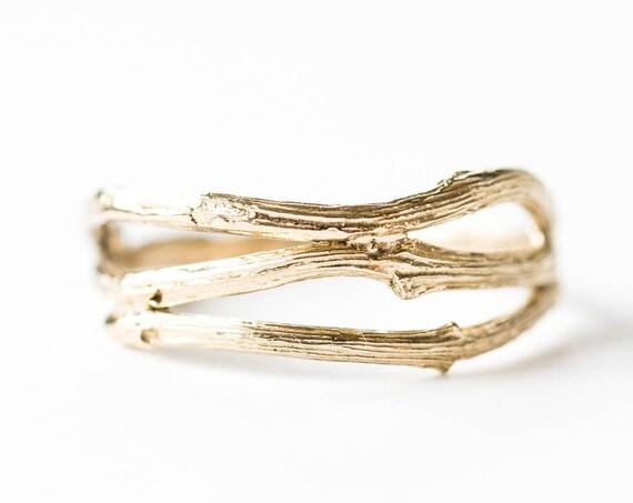 Curved 14k gold twig nesting band, twig wedding band, gold twig wedding band, twig right hand ring, 14k gold twig ring, nature wedding band