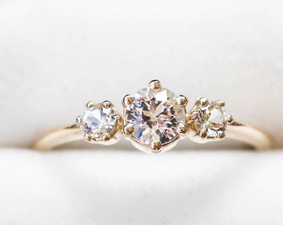 Three stone white sapphire engagement ring, diamond alternative engagement ring, sapphire engagement ring, vintage inspired engagement ring