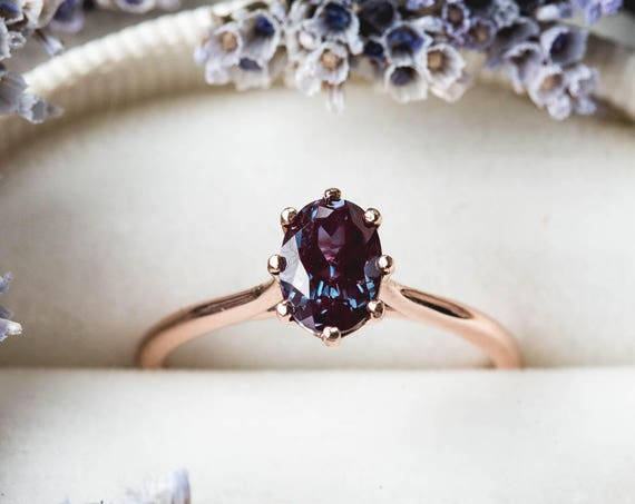 Solitaire oval alexandrite 14k gold engagement ring, alexandrite rose gold engagement ring, color changing ring, alexandrite engagement ring