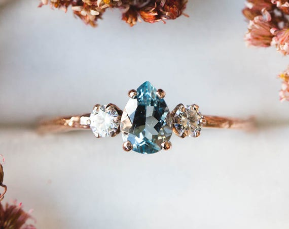 Aquamarine pear moissanite and 14k gold twig engagement ring, pear aquamarine engagement ring, three stone vintage pear engagement ring
