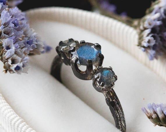Labradorite twig engagement ring, Labradorite engagement ring, three stone ring