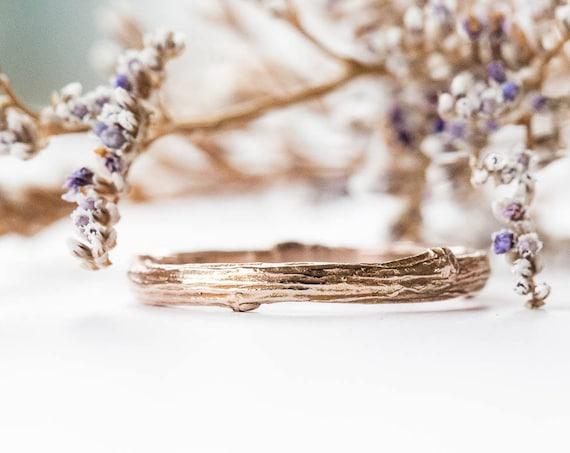 14k gold twig wedding band, 14k gold matching twig nature band