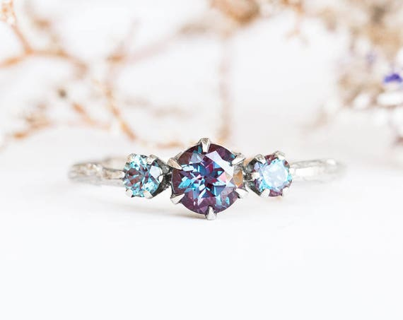 14k gold three stone alexandrite engagement ring, Chatham alexandrite engagement ring, three stone twig engagement ring, alexandrite ring