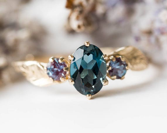 Oval three stone london blue topaz and alexandrite leaf ring , 14k gold twig engagement ring, gold leaf twig ring, leaf engagement ring