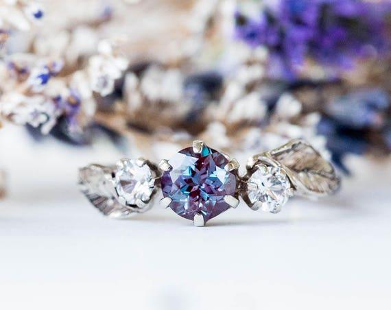 14k gold chatham alexandrite leaf engagement ring, three stone twig leaf engagement ring, alexandrite ring, unique gold engagement ring