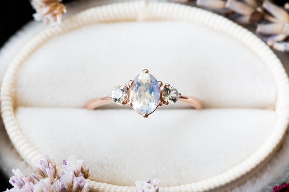 Moonstone sapphire three stone 14k gold engagement ring, moonstone engagement ring, alternative bridal, moonstone rose gold ring, fantasy