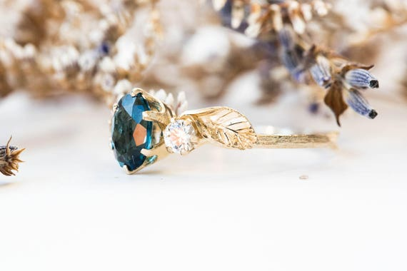 Oval three stone london blue topaz and white sapphire leaf ring , 14k gold twig engagement ring, gold leaf twig ring, leaf engagement ring