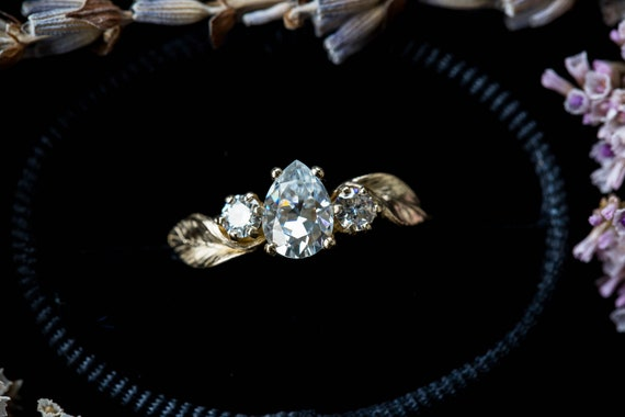 Pear moissanite 14k gold twig engagement ring, leaf engagement ring, moissanite leaf twig ring, alternative engagement, asymmetrical ring