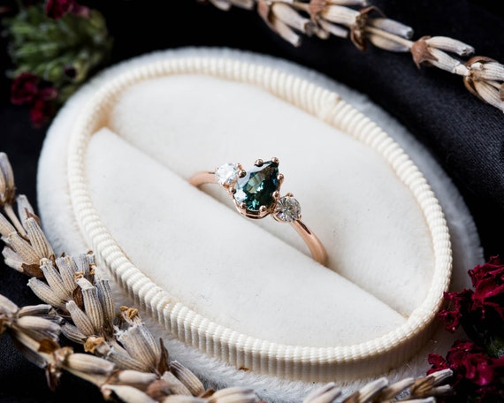 Teal sapphire 14k gold engagement ring, 14k gold twig engagement ring, unique engagement, blue green sapphire engagement ring, sapphire ring