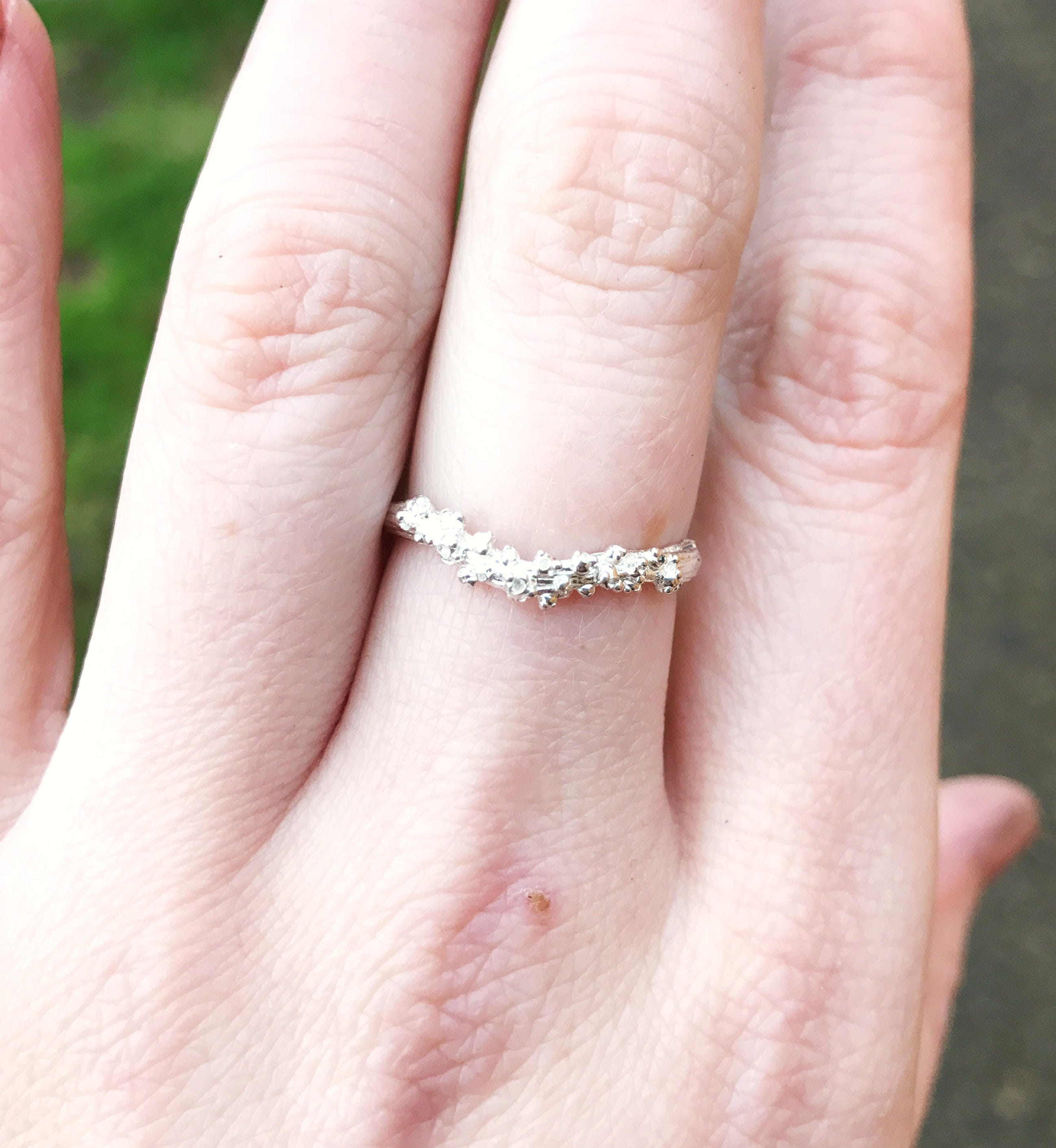 Sterling silver barnacle twig ring, sterling silver nature wedding ...