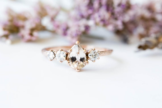 Morganite cluster gold engagement ring, 14k gold twig engagement ring, unique engagement, moissanite engagement ring, diamond alternative