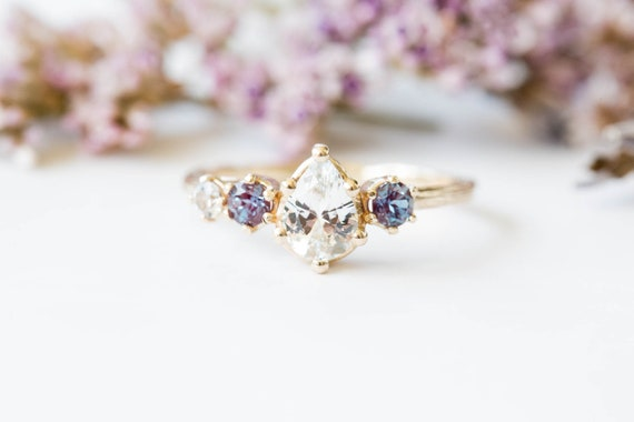 Cluster sapphire 14k gold engagement ring, alexandrite twig engagement ring, asymmetrical gold ring, cluster sapphire ring, alexandrite ring