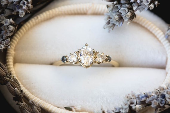 Oval moissanite cluster five stone engagement ring, 14k gold vintage style ring, cluster engagement ring, alternative engagement, fairytale