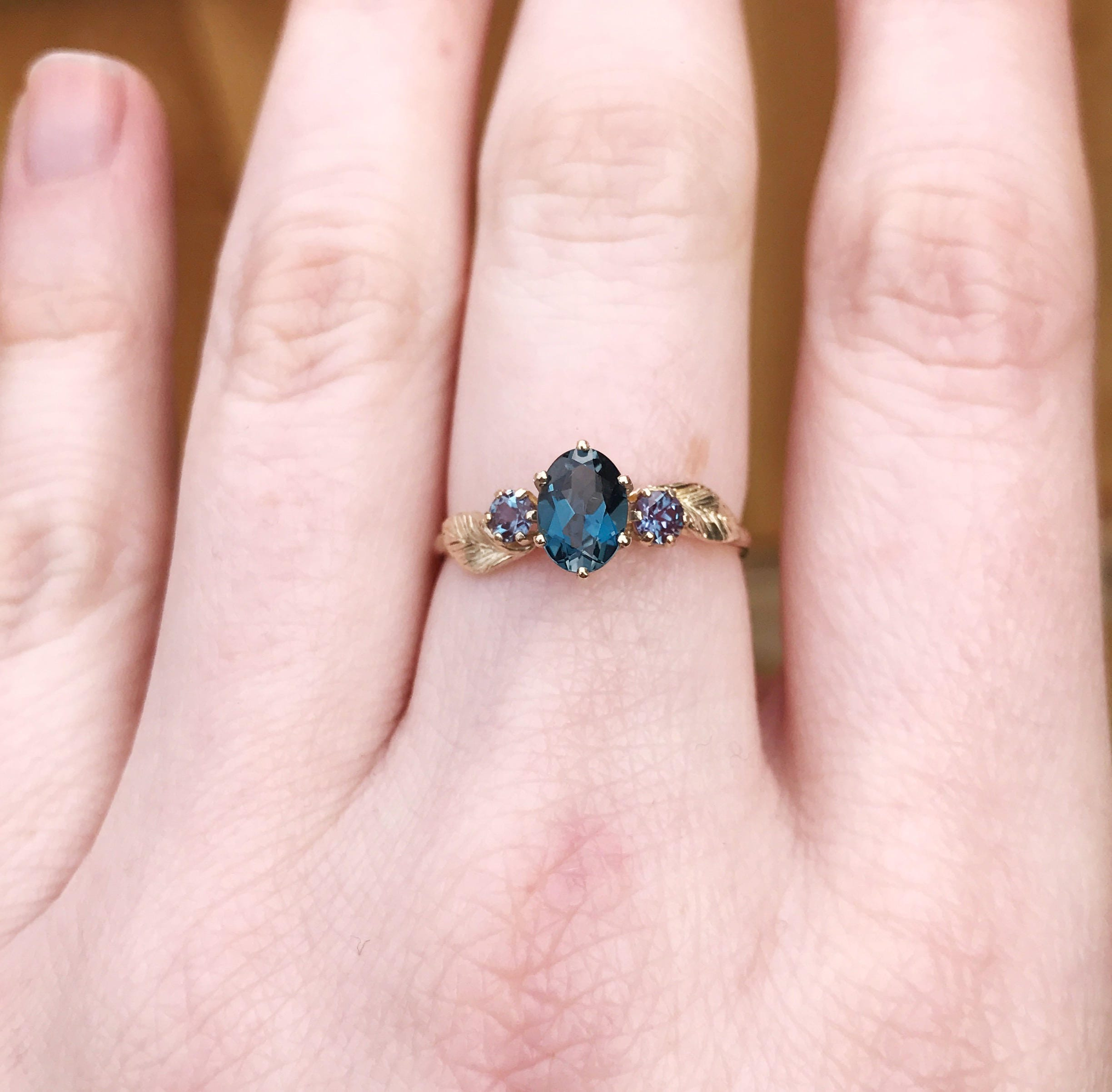 Oval three stone london blue topaz and alexandrite leaf ring , 14k ...