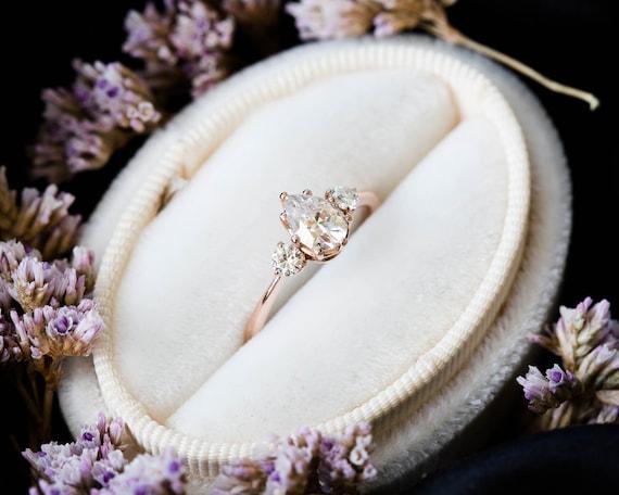 Pear moissanite three stone engagement ring, pear engagement ring, three stone ring, rose gold moissanite ring, alternative engagement ring