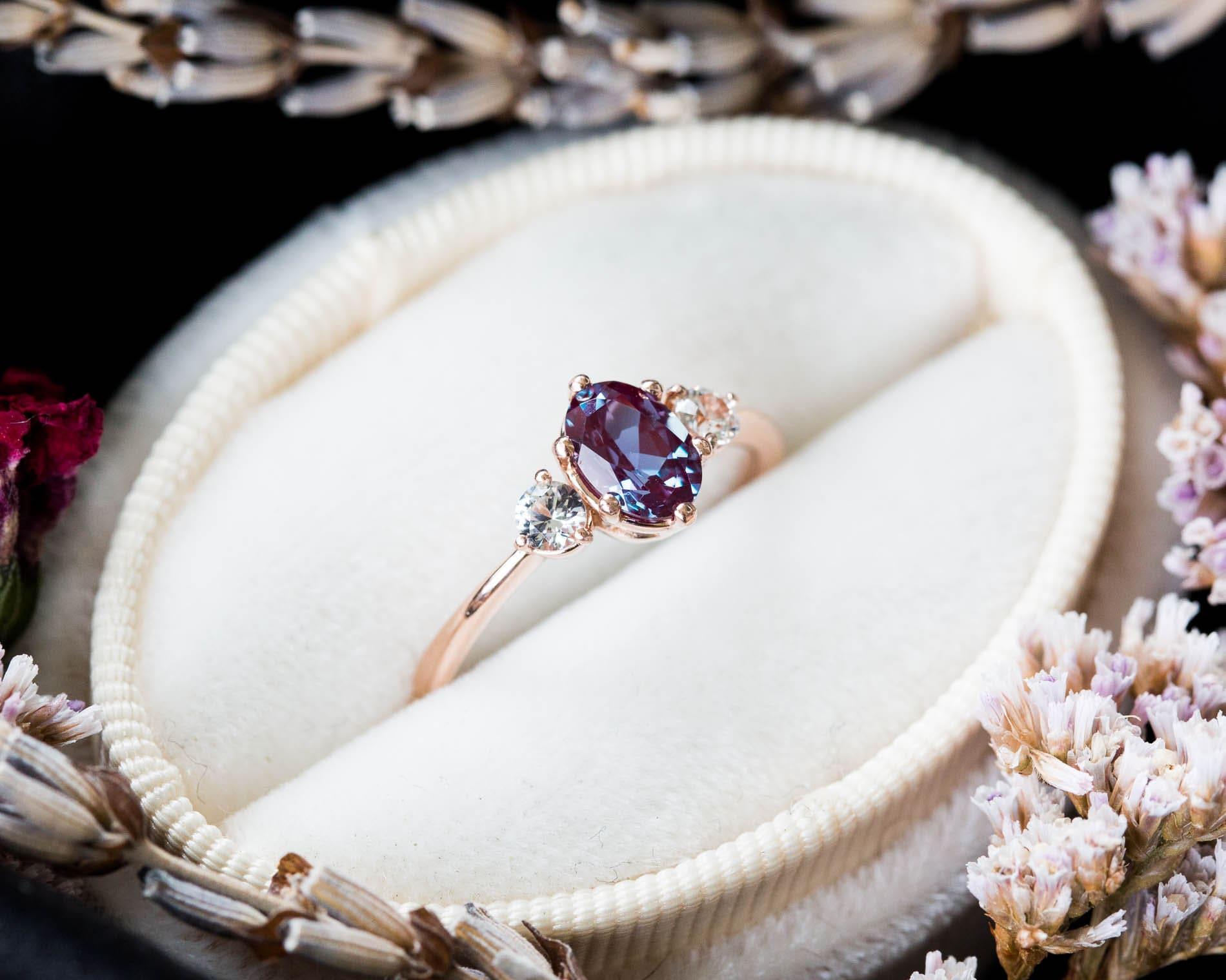 821c9cf198712 Alexandrite sapphire three stone 14k gold engagement ring, alexandrite  engagement ring, alternative bridal, alexandrite rose gold ring
