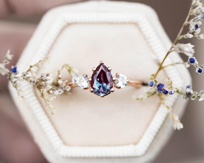 cd79cb5b41635 Alexandrite sapphire three stone engagement ring, pear engagement ring,  three stone ring, rose gold alexandrite ring, alternative engagement